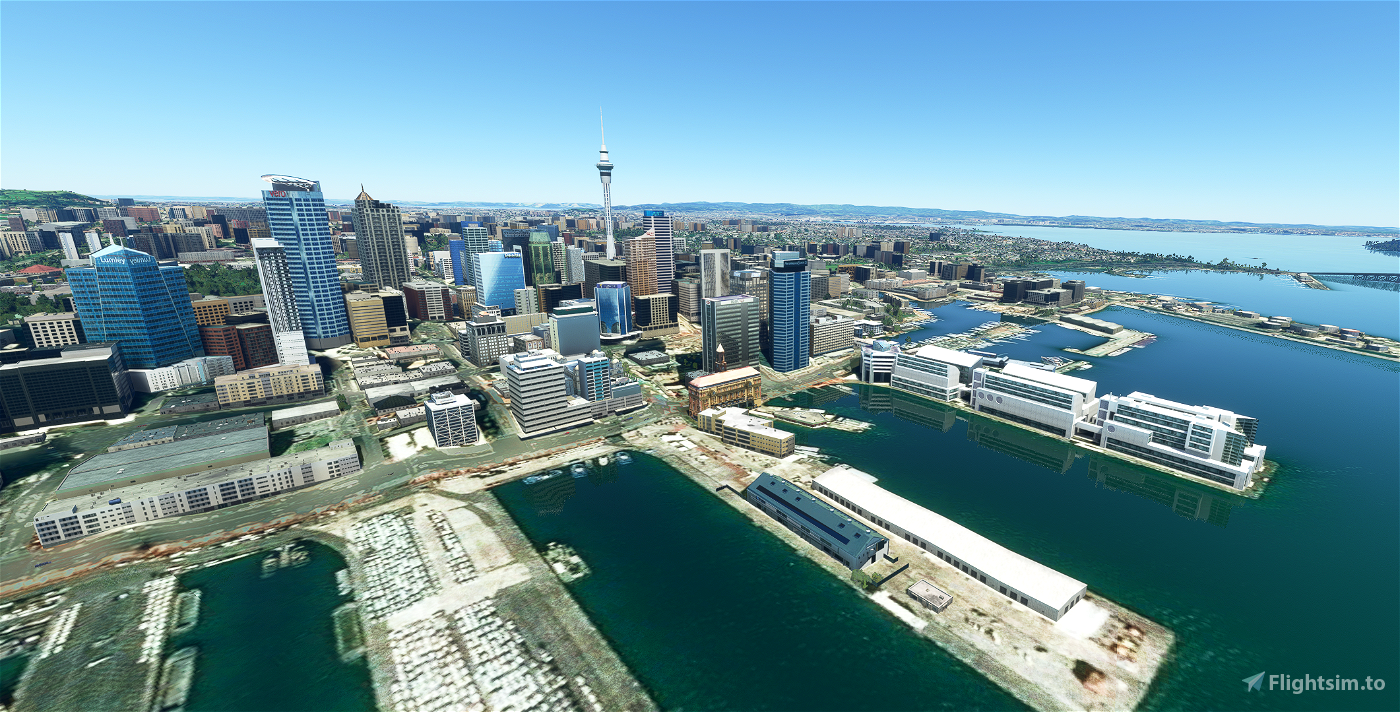 Auckland New Zealand (hand crafted, no photogrammetry) Now with night lighting. Flight Simulator 2020