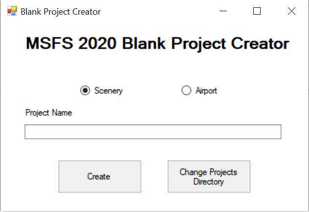 MSFS 2020 Blank Project Creator Flight Simulator 2020