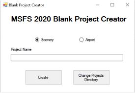 MSFS 2020 Blank Project Creator Image Flight Simulator 2020