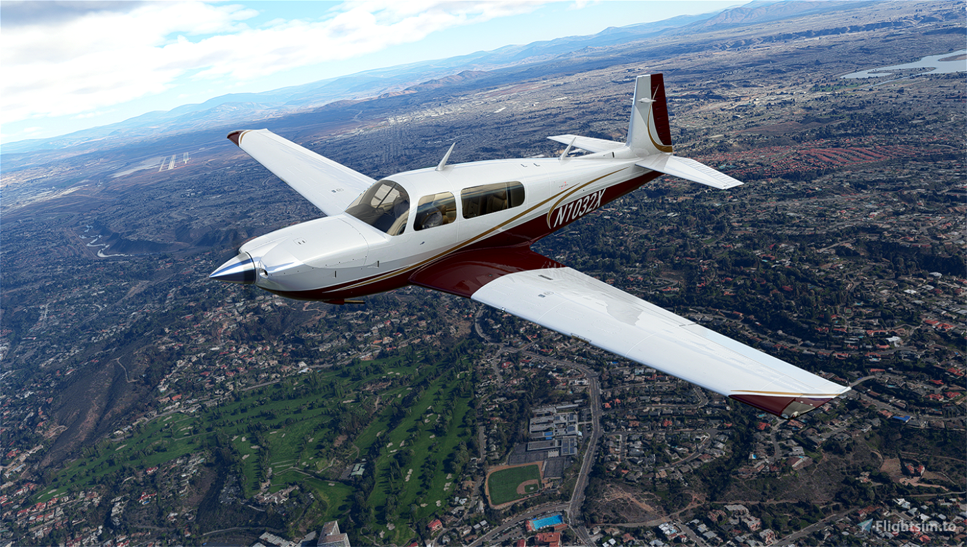 White Gold and Maroon Livery for Carenado Mooney Flight Simulator 2020