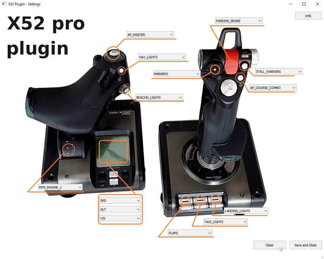 Saitek X52 PRO - Dynamic LED Plugin Flight Simulator 2020