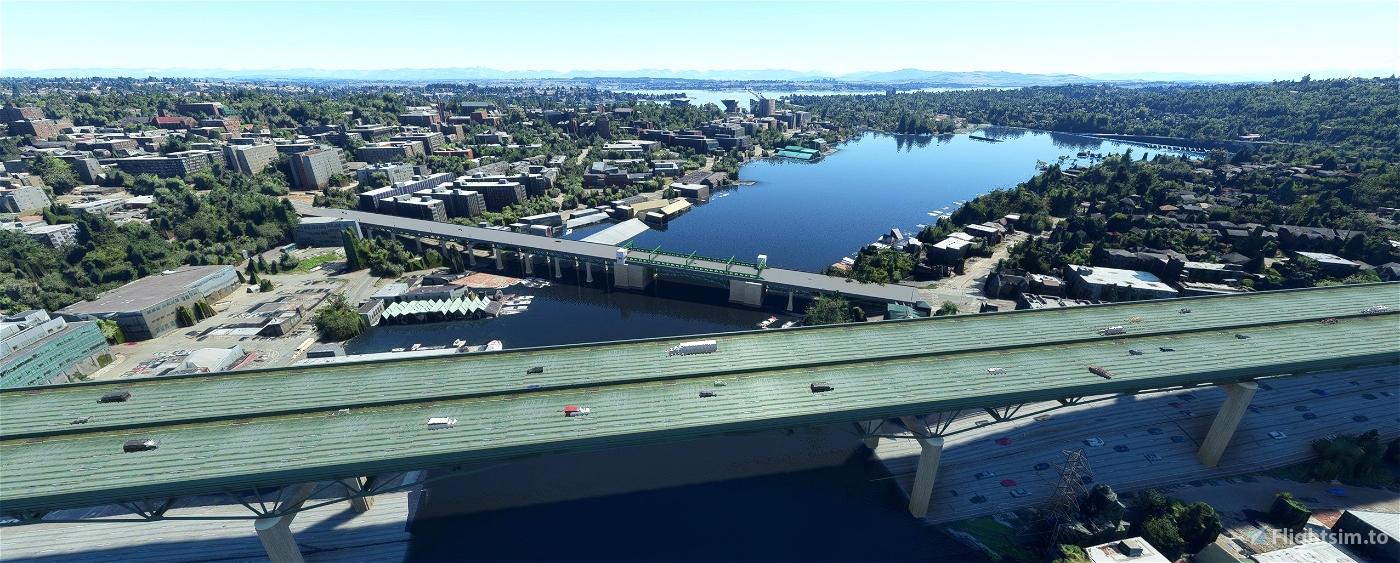 Seattle Bridges, Seattle WA USA Flight Simulator 2020