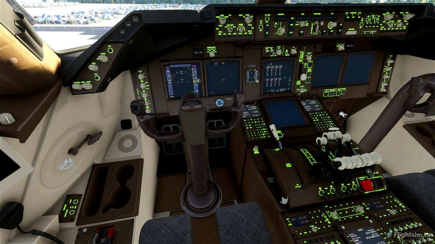 Lime Green B747 COCKPIT TEXTS EMISSIVE Flight Simulator 2020