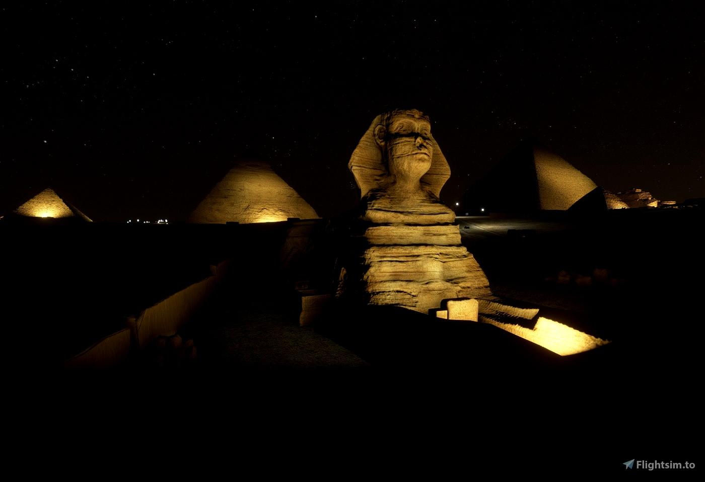 The Great Pyramids + Sphinx of Giza, Cairo, EGY - NIGHT LIGHTING SET Flight Simulator 2020