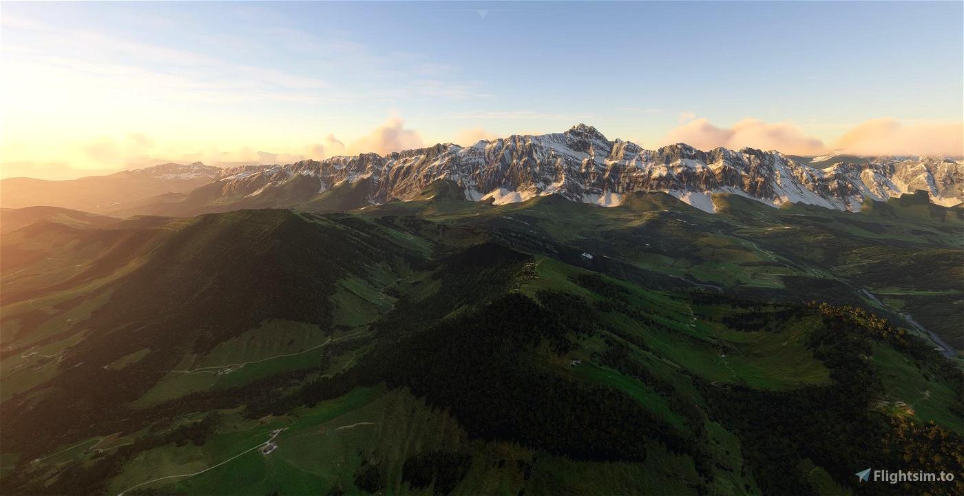 Mt. Säntis and Alpstein (Mountain Range) Switzerland Flight Simulator 2020