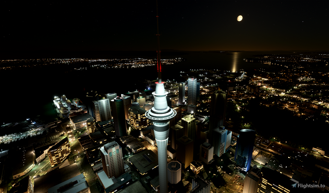 Auckland New Zealand (hand crafted, no photogrammetry) Now with night lighting.
