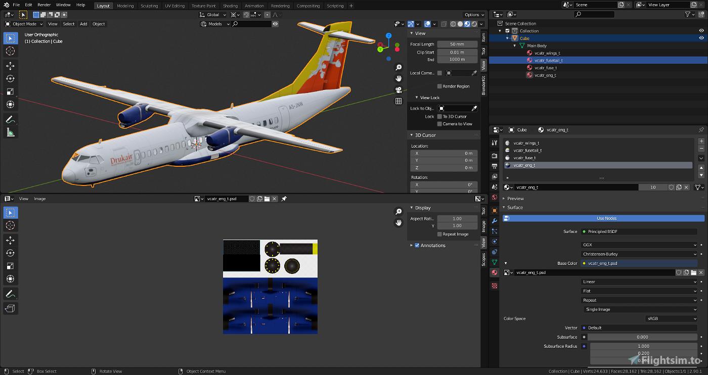 ATR72-600 Blender Model (simplified) Flight Simulator 2020