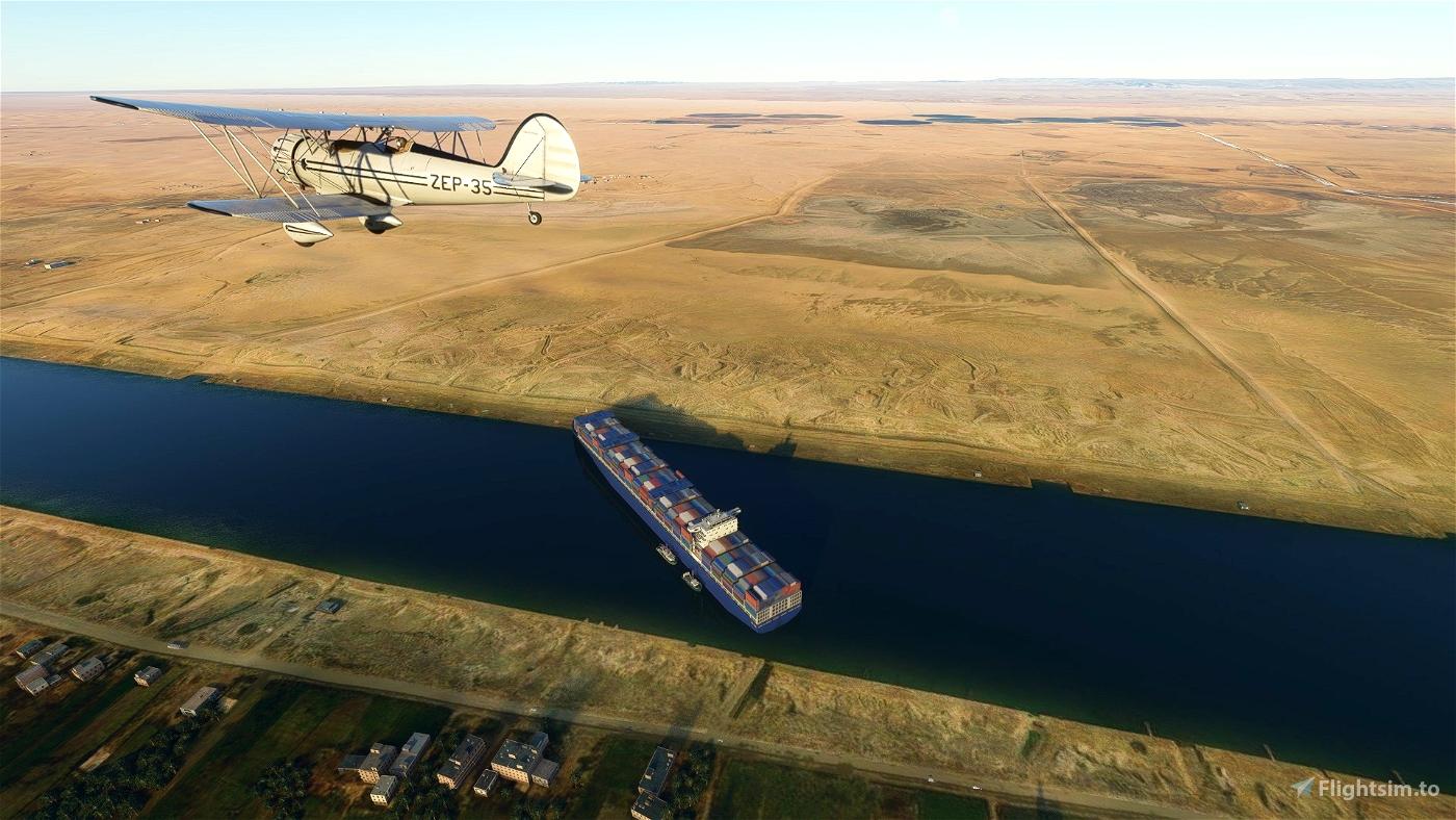 Ever Given Landmark , Canal de Suez. Flight Simulator 2020