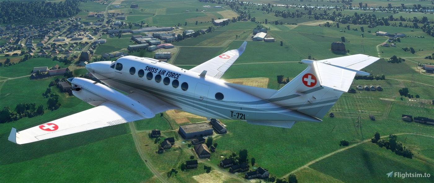 Asobo_KingAir350 Swiss Air Force T-721 White Flight Simulator 2020