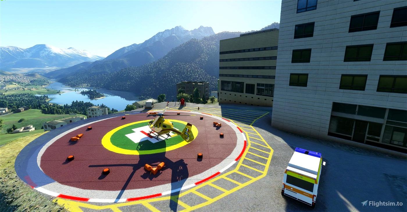 Elisuperficie Ospedale Pieve di Cadore Flight Simulator 2020